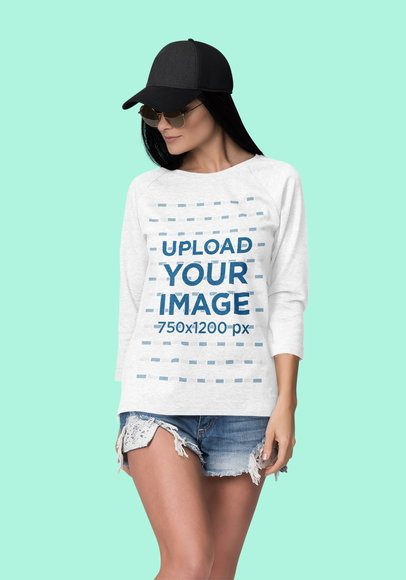 Mockup of a Fashionable Woman Posing with a 3/4 Sleeve Heather Tee 4400-el1