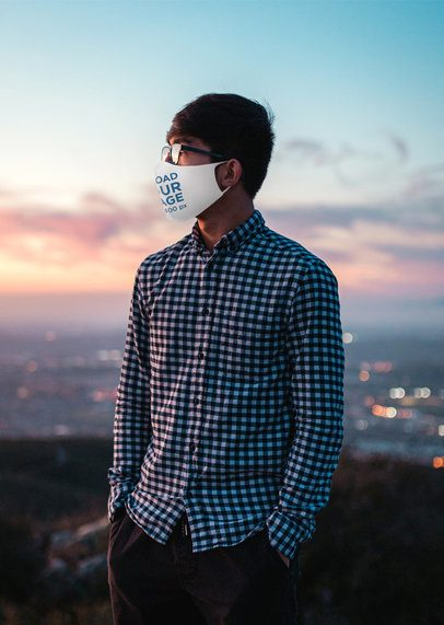Face Mask Mockup Featuring a Man and a Landscape in the Background 4663-el1