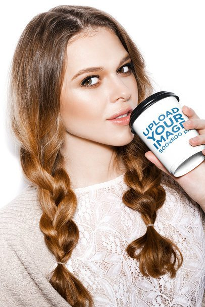 Mockup of a Woman Posing with a Coffee Cup 36892-r-el2
