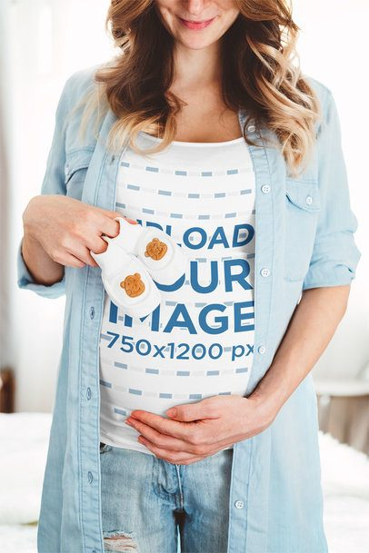 Tank Top Mockup Featuring a Pregnant Woman Showing a Baby Garment 37251-r-el2