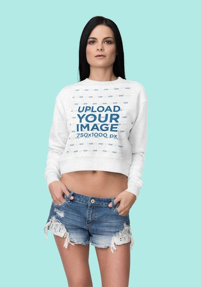 Mockup of a Serious Woman Wearing a Heather Crop Top Sweatshirt at a Studio 4404-el1