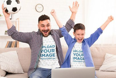 T-Shirt Mockup of Father and Son Watching a Soccer Game 37635-r-el2