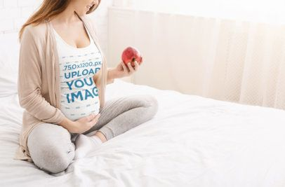 Tank Top Mockup of a Pregnant Woman Sitting in Bed 37016-r-el2