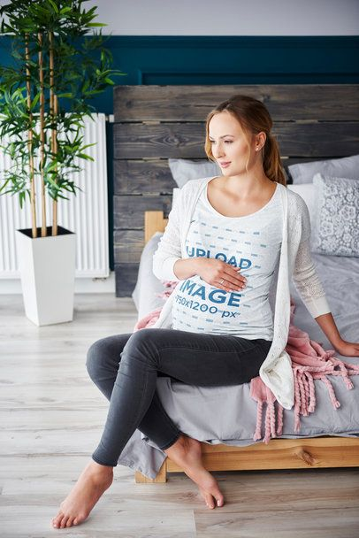 T-Shirt Mockup of a Pregnant Woman Posing at Home 37011-r-el2