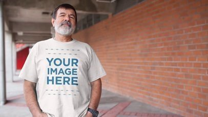 Elder Man with a Beard Wearing a Round Neck T-Shirt Video Mockup a12765-122016