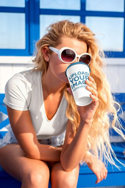 Mockup of a Woman with Sunglasses Drinking From a Coffee Cup 36878-r-el2