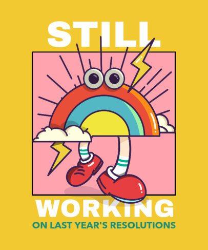 T-Shirt Design Maker Featuring a Rainbow Cartoon Character 2649g