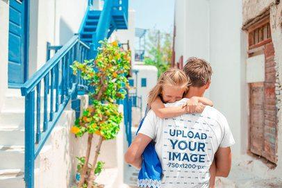 Back-View T-Shirt Mockup of a Man Carrying His Daughter 37458-r-el2