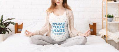 Tank Top Mockup Featuring a Pregnant Woman Meditating in Bed 37019-r-el2