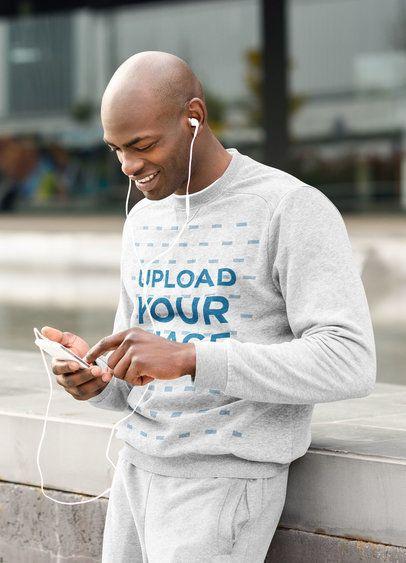 Crewneck Sweatshirt Mockup of a Man Listening to Music 37949-r-el2