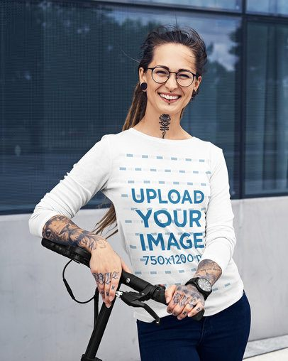 Mockup of a Happy Woman with Tattoos Wearing a Long-Sleeve Tee 38051-r-el2
