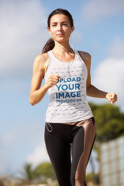 Tank Top Mockup of a Woman Running on a Sunny Day 37887-r-el2