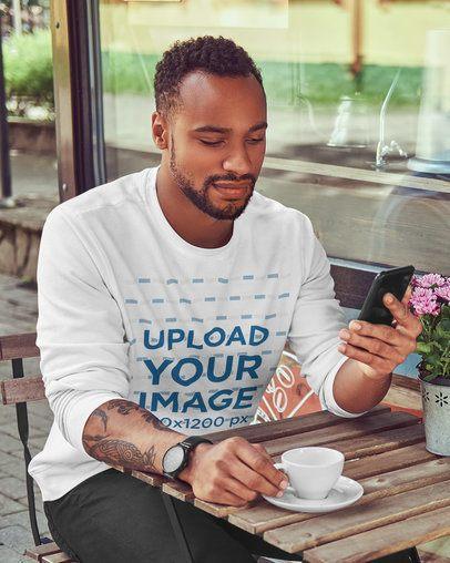 Long Sleeve Tee Mockup of a Man at a Cafe 38054-r-el2