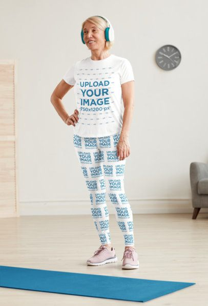 T-Shirt Mockup of a Woman with Sublimated Leggings Ready to Workout at Home 37929-r-el2