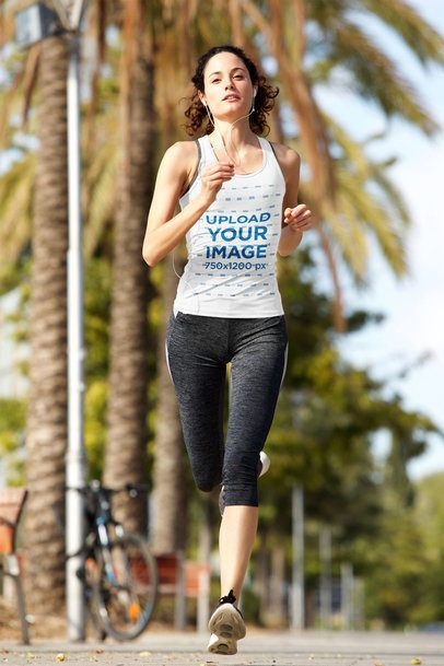 Tank Top Mockup of a Woman Running by a Palm Tree-Filled Avenue 37899-r-el2