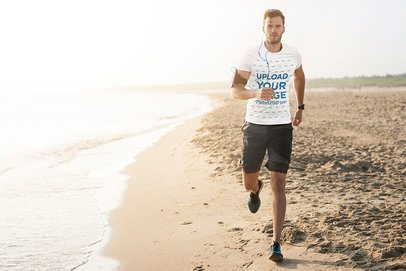 T-Shirt Mockup of a Male Runner Training at the Beach 38230-r-el2