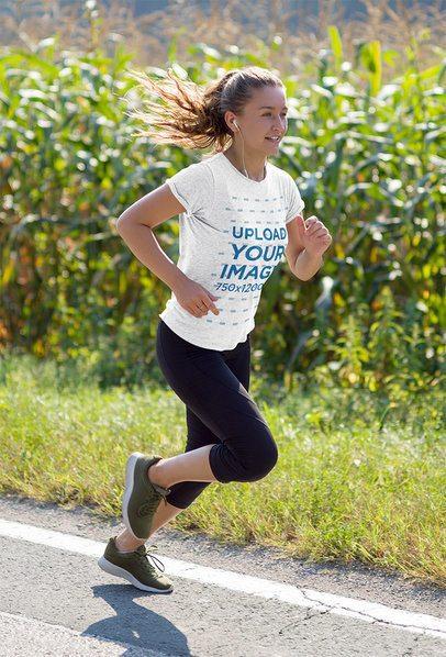 T-Shirt Mockup of a Female Runner Training Outdoors 37980-r-el2