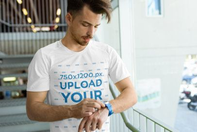 Activewear T-Shirt Mockup of a Man at a Gym Checking the Hour 38018-r-el2