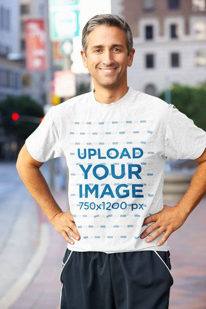 Mockup of a Middle-Aged Man with a Heathered T-Shirt Standing on the Street 38301-r-el2