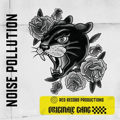Album Cover Design Template Featuring Tattoo-Style Illustrations 2626