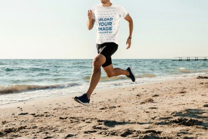 T-Shirt Mockup of a Man Running Featuring the Sea in the Background 37870-r-el2