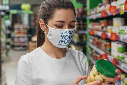 Face Mask Mockup Featuring a Woman at a Grocery Store 4680-el1