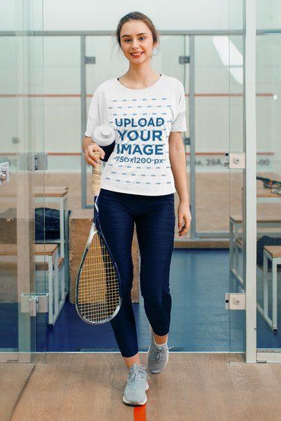 T-Shirt Mockup of a Woman at a Squash Court 37977-r-el2