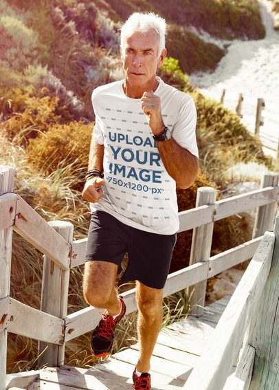 Activewear T-Shirt Mockup of a Senior Man Running Outside 38068-r-el2