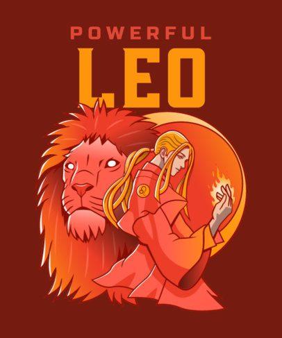 T-Shirt Design Maker Featuring an Astrology Sorcerer with a Lion 2655d