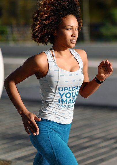 Sublimated Tank Top Mockup of a Woman Running 38192-r-el2