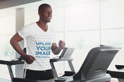 V-Neck T-Shirt Mockup of a Man Running on a Treadmill 37970-r-el2