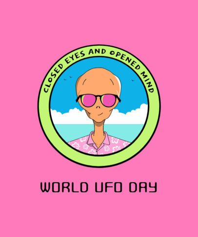 Summery T-Shirt Design Maker for World UFO Day 1717i-2665