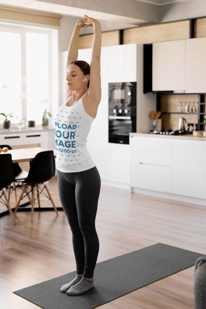 Tank Top Mockup of a Woman Doing Yoga at Home 37192-r-el2