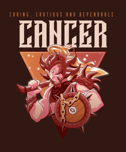 Zodiac T-Shirt Design Template with a Cancer Warrior 2655a