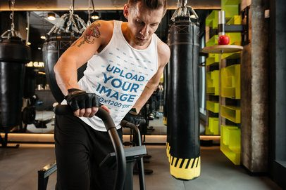 Tank Top Mockup of a Man Doing Cardio at the Gym 38060-r-el2