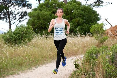 Mockup of a Woman Wearing a Customizable Tank Top While Running 37896-r-el2