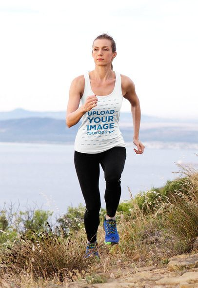 Tank Top Mockup Featuring a Female Trail Runner 37891-r-el2