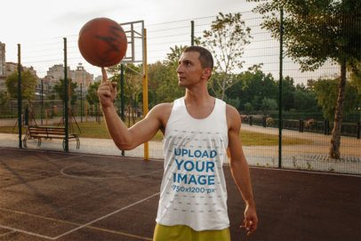 Tank Top Mockup Featuring a Man at a Basketball Court 37967-r-el2