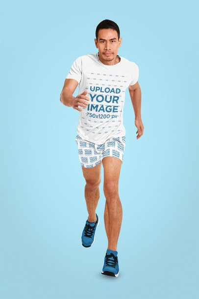 Mockup of an Athlete Wearing a T-Shirt and Sublimated Shorts in a Studio 37869-r-el2