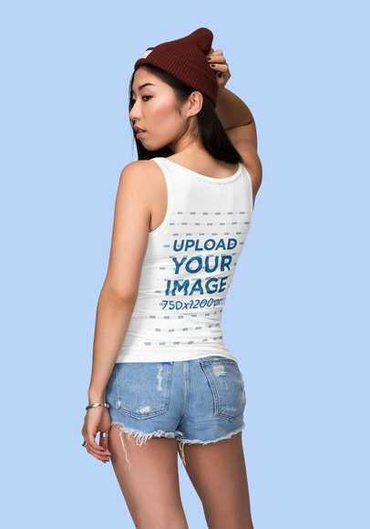Back View Mockup of a Woman Wearing Tank Top Against a Plain Color Backdrop 1877-el1