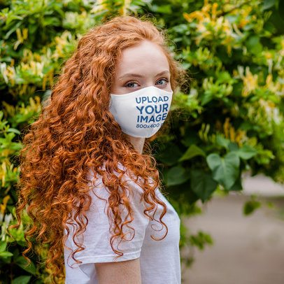 Face Mask Mockup Featuring a Curly-Haired Woman 4684-el1