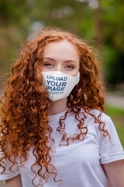Mockup of a Curly-Haired Woman Wearing a Face Mask 4685-el1