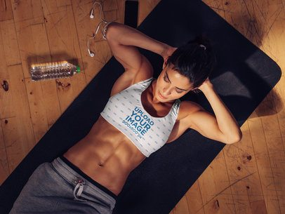 Sports Bra Mockup of a Fit Woman Doing Crunches 36962-r-el2