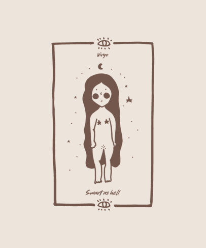 Minimal T-Shirt Design Template with a Cute Illustration of Virgo 1935k