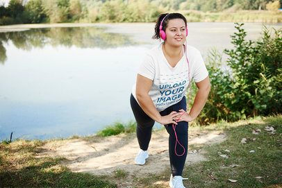 Activewear Mockup of a Woman with a Plus Size T-Shirt Stretching by a Lake 38268-r-el2