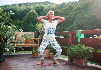 Jersey and Leggings Mockup of an Elderly Woman Working Out at Home 37384-r-el2