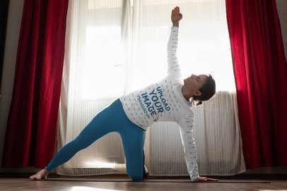 Long Sleeve T-Shirt Mockup of a Woman Doing Yoga at Home 36964-r-el2