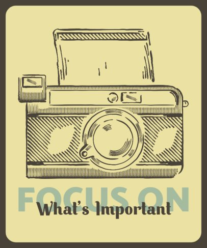 T-Shirt Design Creator with a Positive Quote and a Vintage Camera 2637b