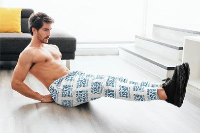Sweatpants Mockup Featuring a Man Doing Crunches at Home 37050-r-el2