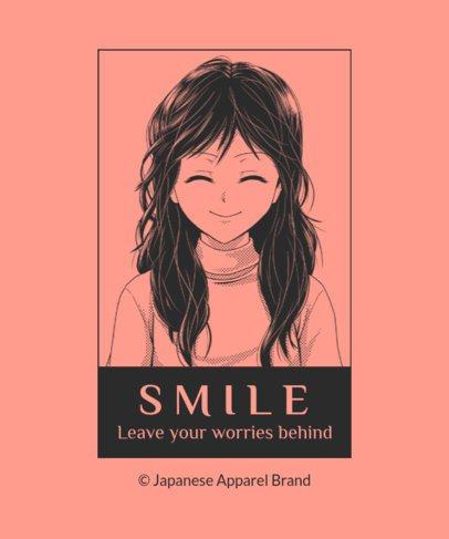 Manga T-Shirt Design Creator Featuring a Smiling Girl 2635b